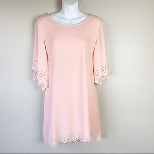 Pink Coconut - scalloped bell sleeve dress - small
